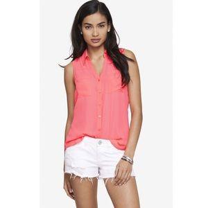 Express Pink Slit Back Sleeveless Portofino Shirt